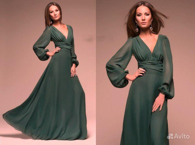Красивое зеленое платье в пол