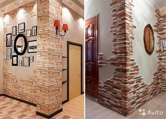 Использование декоративного камня в интерьере прихожей фото