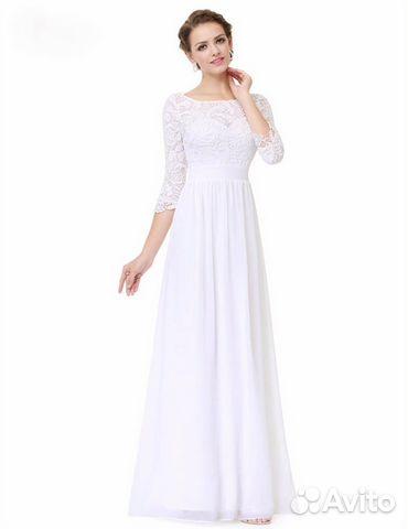 54d8cc327f5 Белое закрытое свадебное платье с рукавами купить в Москве на Avito ...