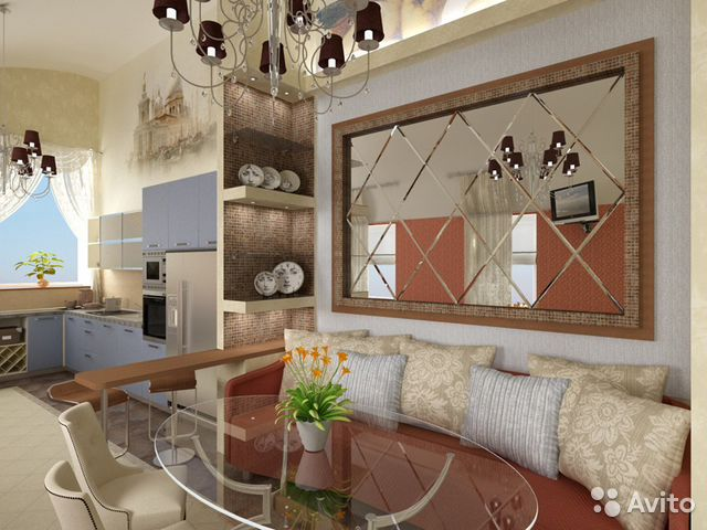 дизайн гостиной и кухни с 2 окнами фото
