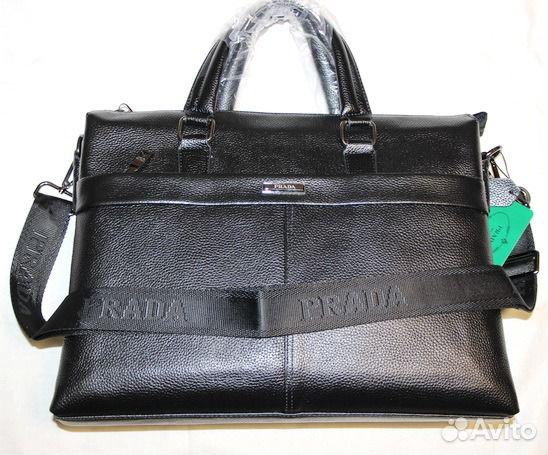 a17dc441fb2f Мужская кожаная сумка -Prada- black новый портфель купить в Москве ...