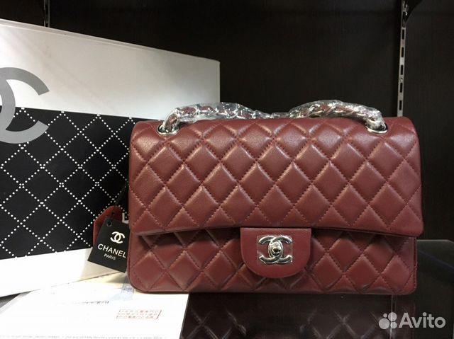 Бордовая Сумка Клатч Chanel 2.55 Шанель Кожа df52d59634ec4
