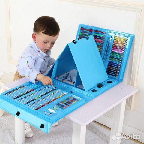 Набор художника 176 предметов С мольбертом голубой 89304019156 купить 1