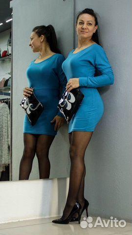 Платье-туника красивого синего цвета купить 5