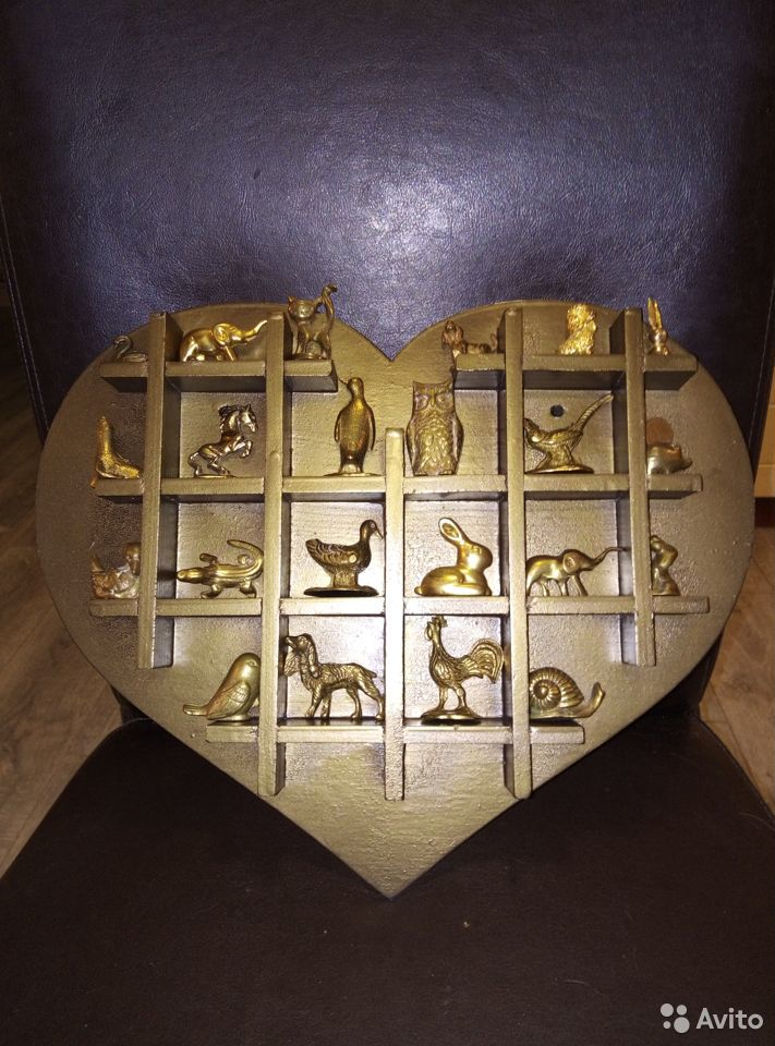 Коллекция миниатюр Латунь Животные Полочка дерево  89107480901 купить 1