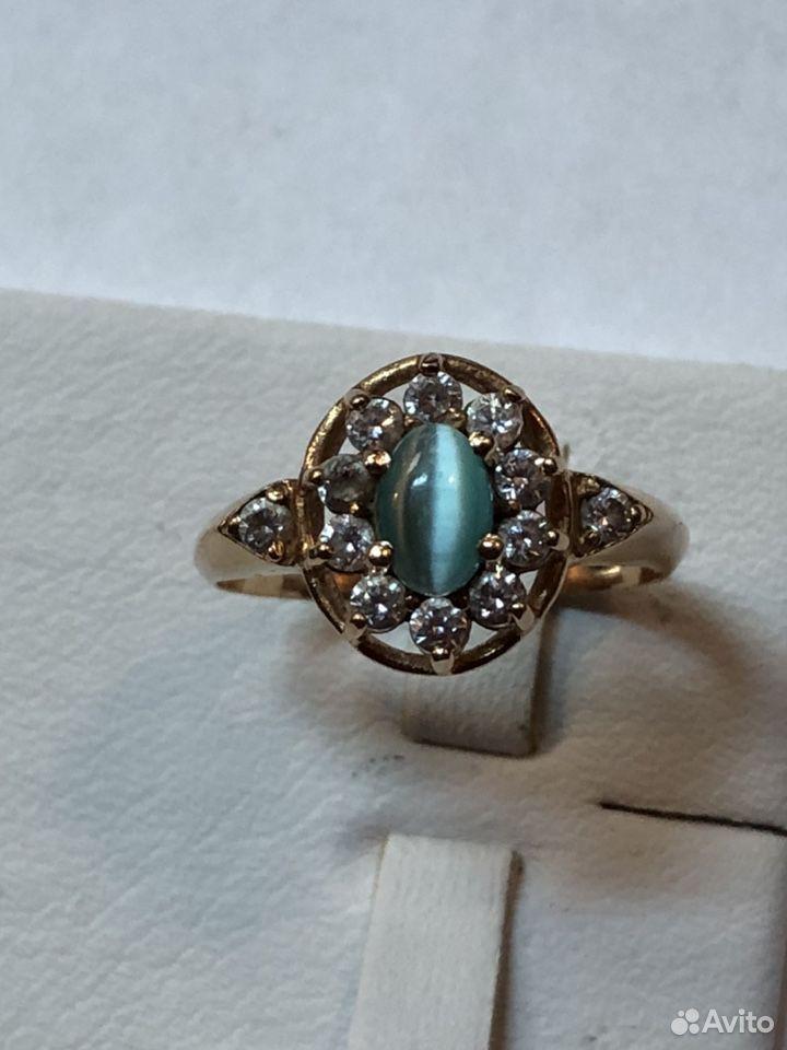 Золотое кольцо 585 с кабашоном и фианитами  89817050993 купить 5