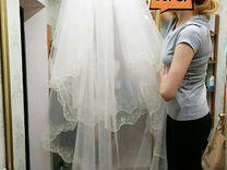 Свадебное платье новое, фата 3м в подарок