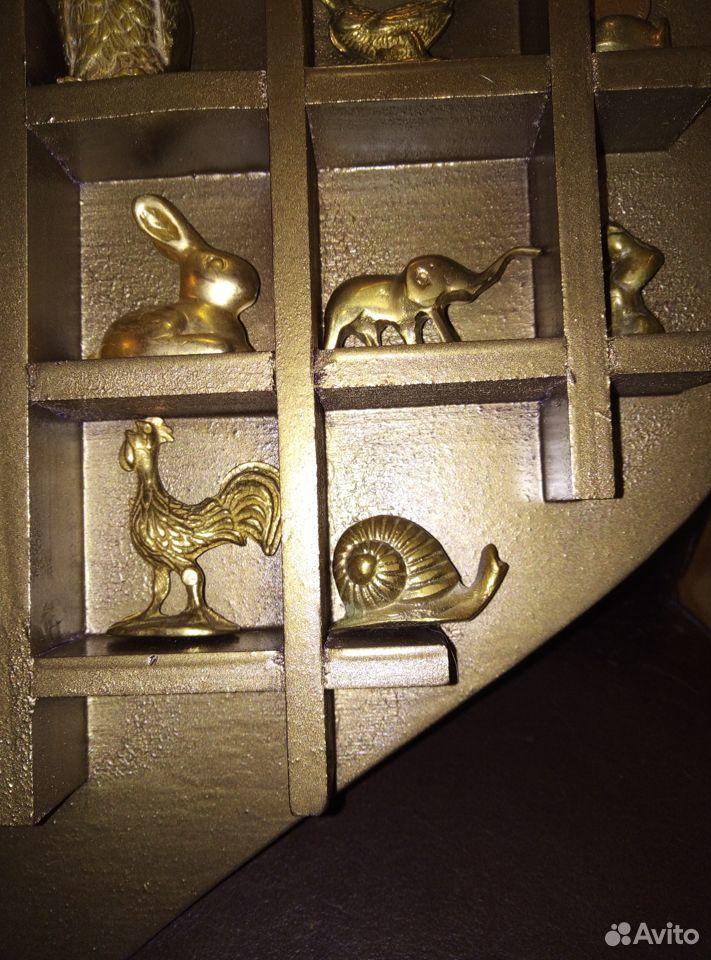 Коллекция миниатюр Латунь Животные Полочка дерево  89107480901 купить 5