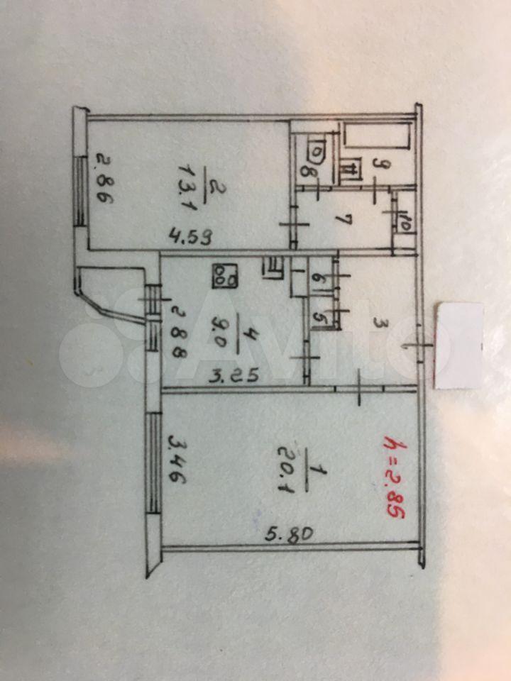 2-к квартира, 56.8 м², 6/9 эт.  89062864480 купить 1
